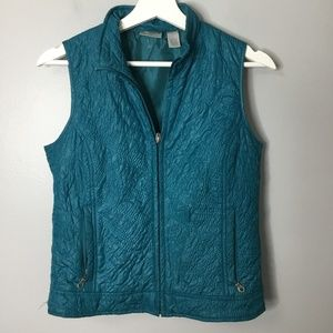 Chico's Teal Vest Sz 0 Quilted